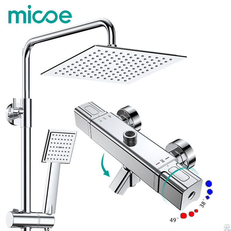 Micoe Shower Set Smart Thermostat Copper Faucet Large Area Water Jet Top Spray ABS Single Function