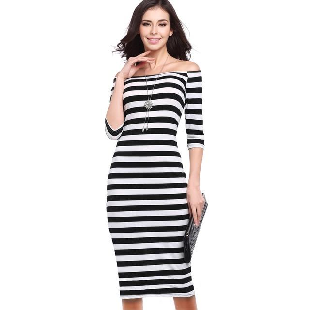 2017 Special Offer Knee-length Slash Neck Dress Women Aliexpress Ebay And Amazon  Hot Sexy Slim Stripe Collar Package Hip Dress 048c9182fe07