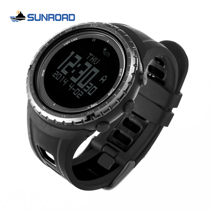 SUNROAD Men's Sport Watch Waterproof Digital Altimeter Compass Stopwatch Barometer Pedometer Wrist Watch Clock Relogio Masculino