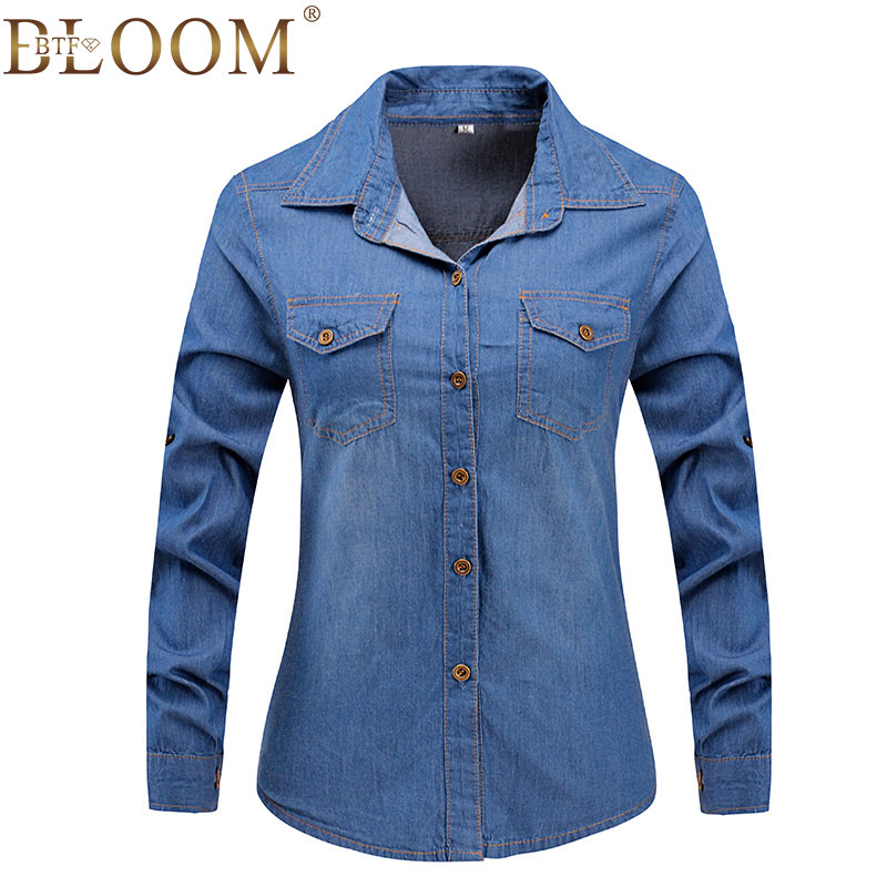 2017 New Denim Shirt Women Long Sleeve Turn Down Collar font b Blouse b font Snowflake