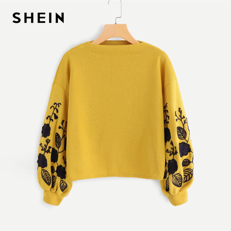 SHEIN Ingwer Preppy Elegante Blumen Gestickte Gugel Neck Bischof Hülse Sweatshirt 2018 Herbst Casual Frauen Pullover Sweatshirts