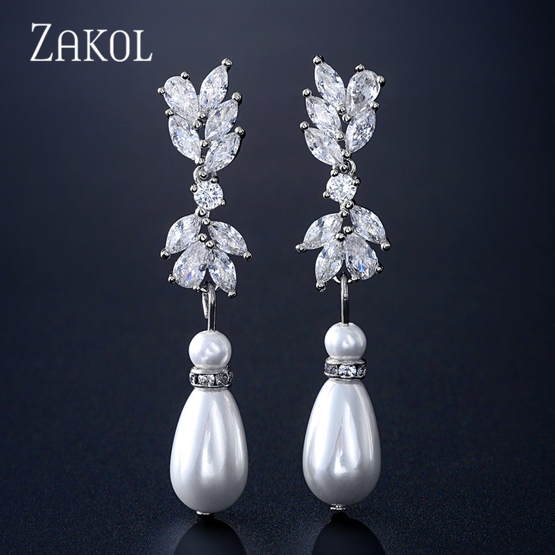 ZAKOL Fashion White Color Flower Shape Zirconia Pearl Water Drop Crystal Dangle Earrings For Bridal Wedding Jewelry FSEP2340