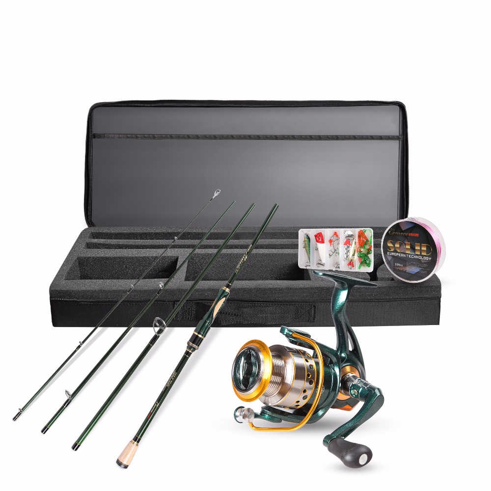 1.8/2.1/2.4m Spinning Fishing Rod Reel Combo Full Kit Spinning Reel Pole Set with Fish Line Lures Hooks Bag Case Vara de pesca fish tackle closed face spinning fishing reel with line