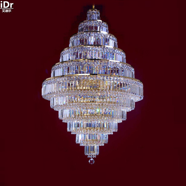 Chandeliers Gold Hanging Crystal Lamp Golden Metal Fancy Chandelier 80cm W X 120cm H