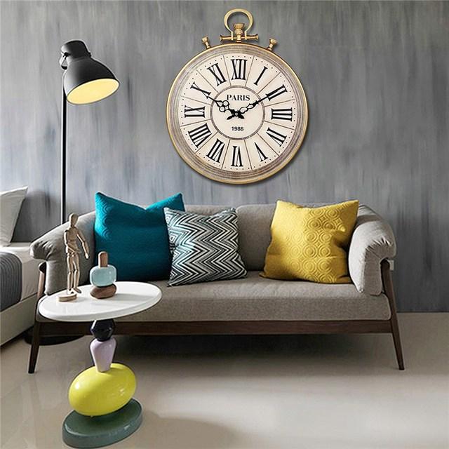 Charminer Absolutely Mute Quartz Wall Clock Retro Roman Numerals Large Living Room  Black Ornate Clock Hand