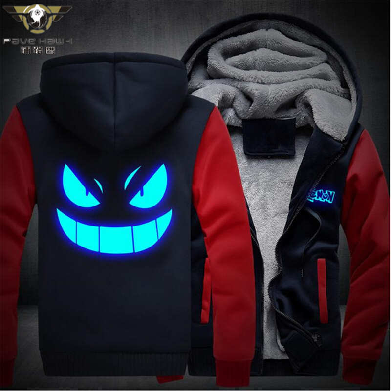 Dropshiping Men Hoodies Pocket Monster Anime Gengar Hip Hop Sweatshirts Zipper Fleece Tracksuits USA EU size Plus size
