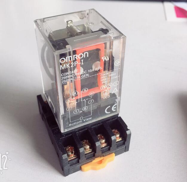 цена Intermediate relay MK2P-I MK2P small electromagnetic relay with base 8PIN DC12V DC24V AC110V AC220V