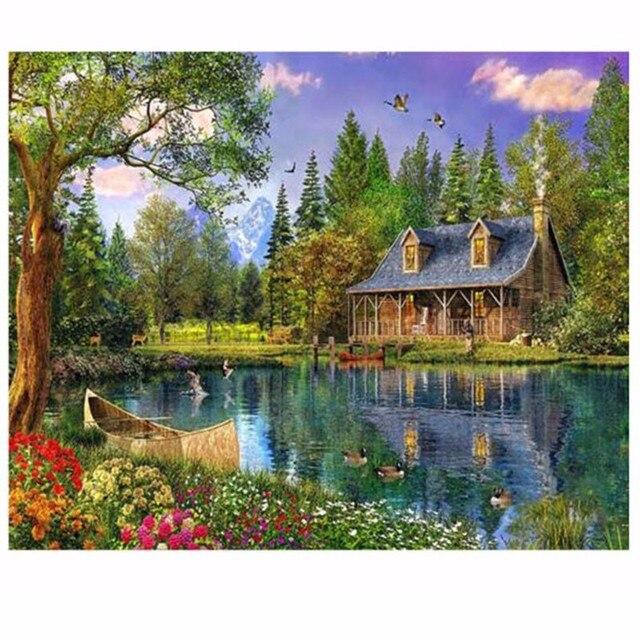 Lakeside кабина home decor diy алмаз картина полный алмазов вышивки картины стразами пейзаж wall art xsy