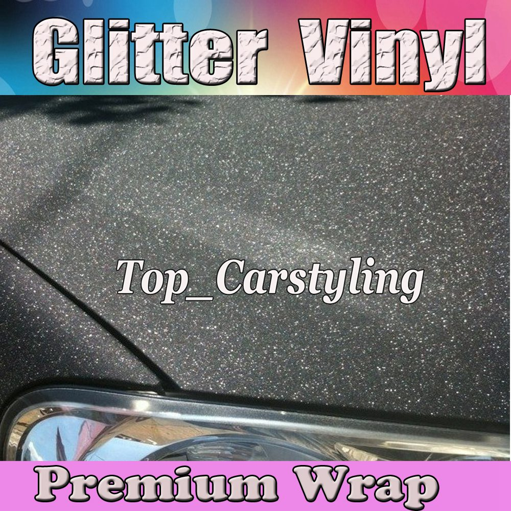 Black Glitter Sparkle Vinyl Car Wrap Sticker with Air bubble Free Decal CARS * LAPTOPS * FURNITURE1.52x30m/Roll 5x98ft
