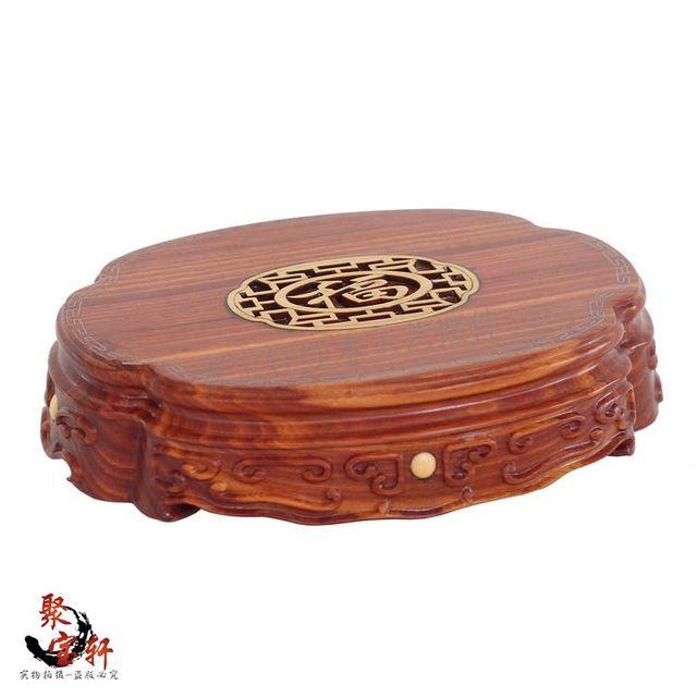 Especial vermelho wingceltis madeira maciça escultura de Buda esculpida em mogno artesanato base circular vaso artigos de decoração