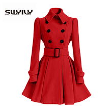 SWYIVY Woman  Woolen Coats Fashion Long Desgin 2018 Winter New Female Solid Casual Jacket Coat Double Breasted Wool