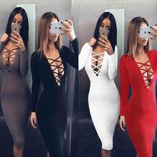 Vestidos Pamuk Bayanlar Tie Up Güz Bodycon Parti Elbise Seksi Derin V Boyun Criss Uzun Kollu Gece Kulübü Bandaj Elbise