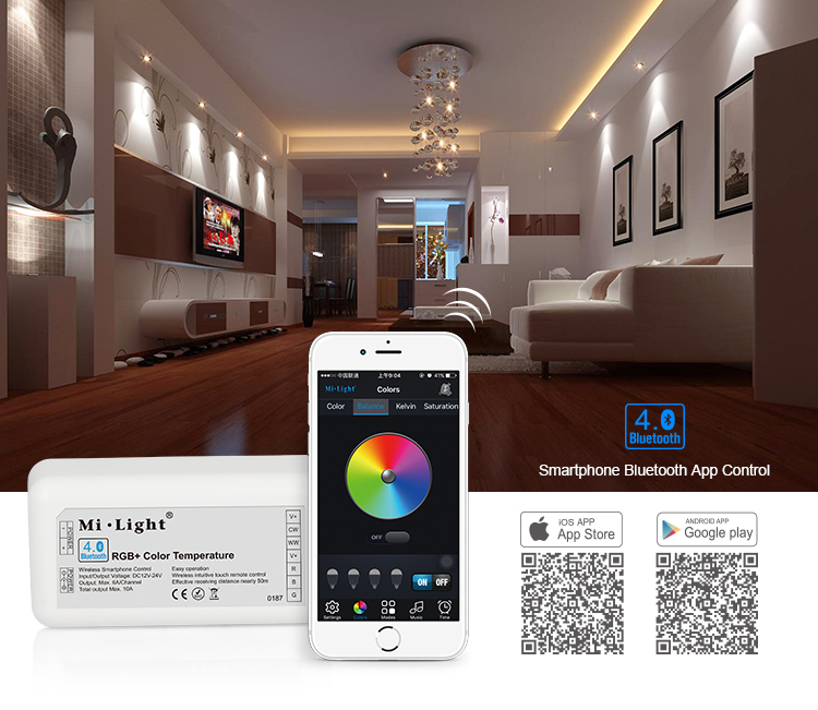 Mi light Bluetooth 4.0 RGB/RGBW/CW/WW LED Controller DC12V-24V RGB bluetooth controller for strips IOS/Android APP Controller