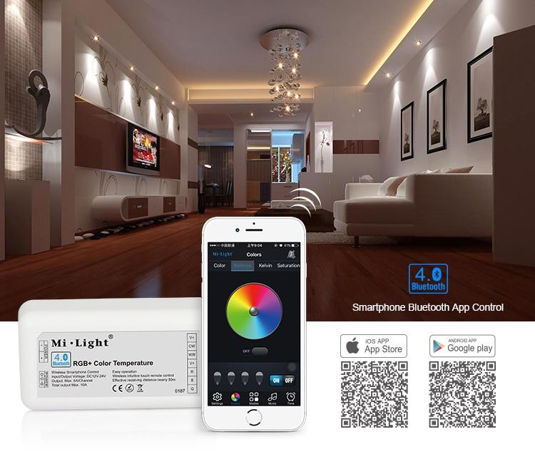 Mi light Bluetooth 4.0 RGB/RGBW/CW/WW LED Controller DC12V-24V RGB bluetooth controller for strips IOS/Android APP Controller