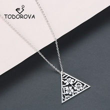 Todorova Stainless Steel Geometric Pendant Necklace Flower Necklace Art Deco Triangle Necklace for Women Jewellery Collar(China)