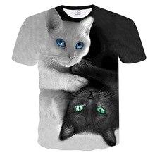 Blanco y Negro gatos camiseta hombres/mujeres 3d imprimir Miau gato Hip Hop de dibujos animados camisetas de verano de moda de 3d camisas