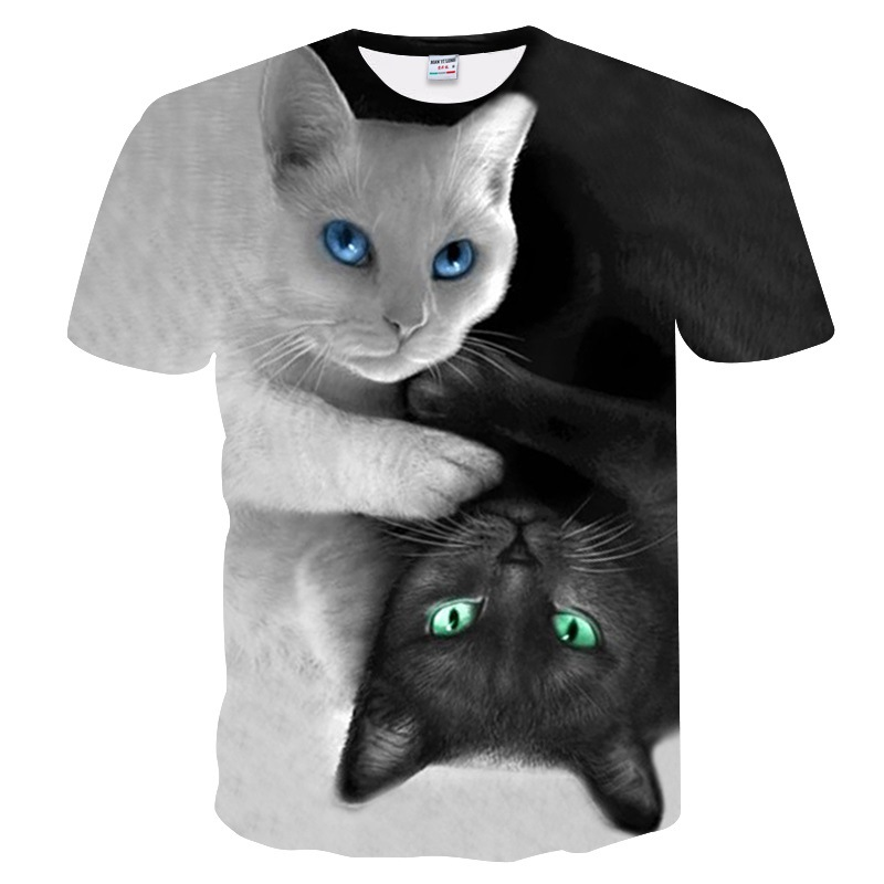 black and white Cats T-shirt Men/Women 3d Print Meow Star Cat Hip Hop Cartoon <font><b>TShirts</b></font> Summer Tops Tees Fashion 3d shirts image