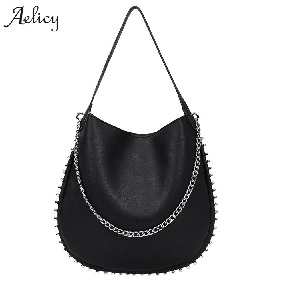 Aelicy Fashion Female Shoulder Bag Vintage Rivet Handbag Women Famous Brands Designer large bag High Quality Ladies Handbag Tote ycustbag painting handbag women famous brands 30cm gold hardware designer high quality real leather shoulder tote bag with scarf