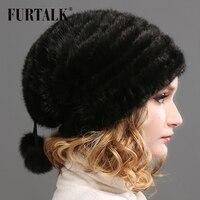 FURTALK Real Mink Fur Hat Women Winter Fur Hats
