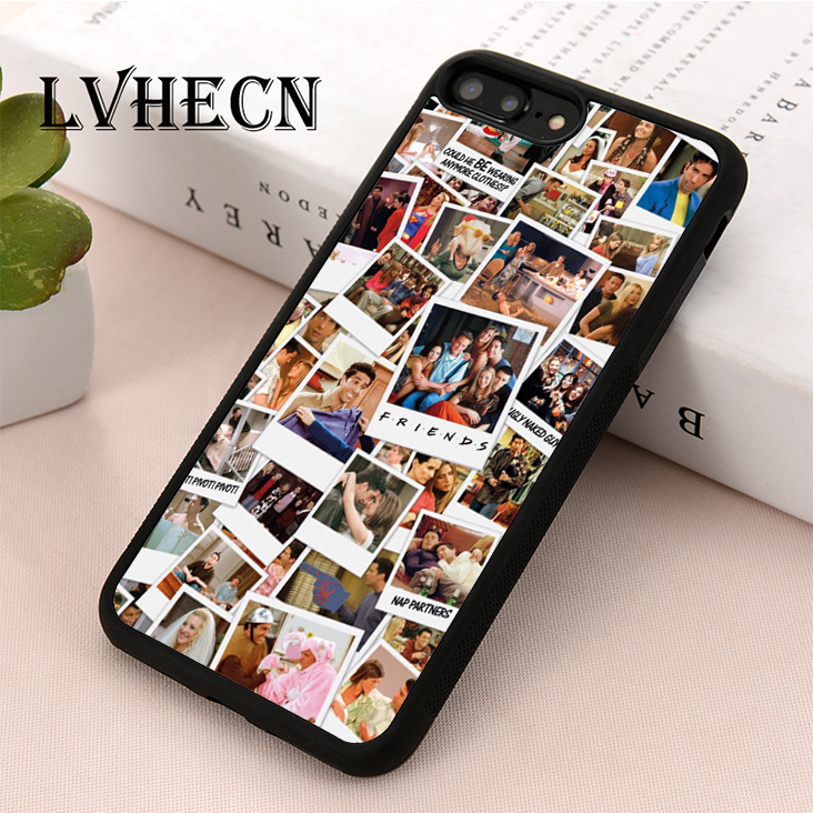 LvheCn TPU Skin phone case cover for iPhone 5 5s SE 6 6s 7 8 plus X XR Xs  Max Friends TV Show Polaroid Picture Collage
