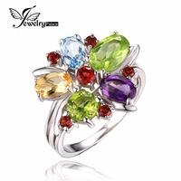 JewelryPalace Flower Multicolor 3 1ct Natural Amethyst Garnet Peridot Citrine Blue Topaz Cocktail Ring 925 Sterling
