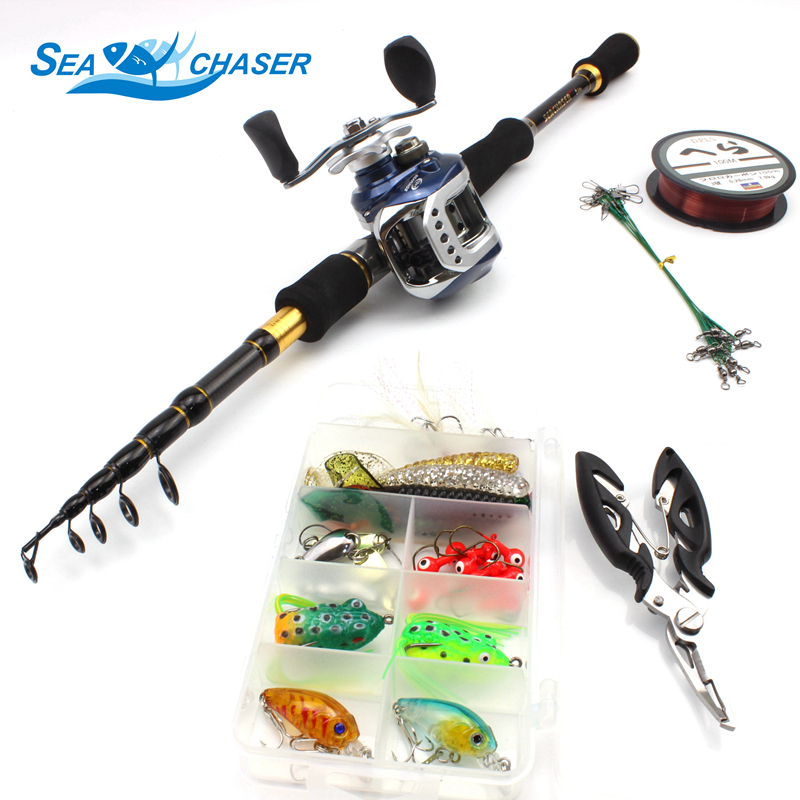NEW carbon fishing Casting Rod and Casting Reels Set Lures combination line 1 8m 2 7m