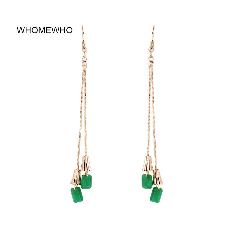 Gold Silver Snake Long Chain Tassel Green Resin Stones Minimalism Minimalist Earrings Korean Fashion Chic Party Wedding Jewelry in Drop Earrings from Jewelry Accessories