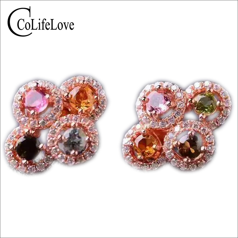Cute colorful stud earings natural colorful tourmaline earrings real 925 solid sterling silver stud earrings for