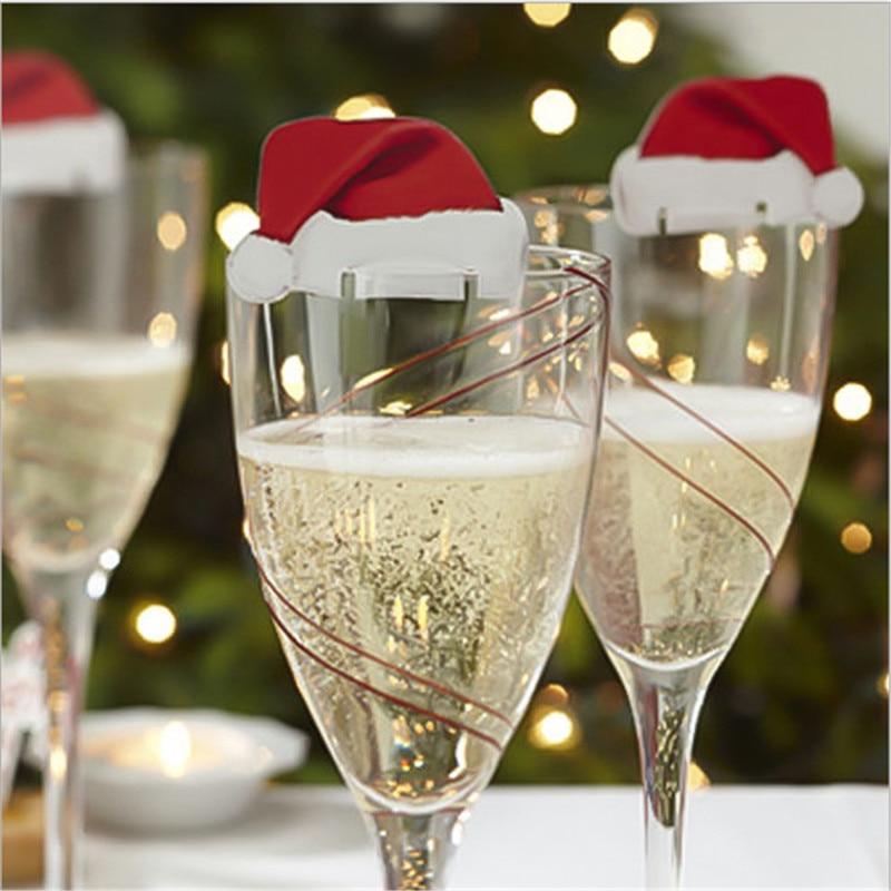 20pc 6 * 3.5cm Christmas Wine Glass Decoration Mini Christmas card paper Hat Christmas Decorations Home Decor New Year Navidad-B