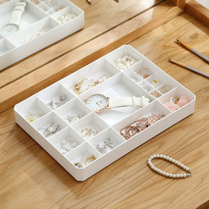 Image 3 - Caja de plástico multirejilla para decoración del hogar para joyería, anillo rectangular de plástico, tachuelas, reloj, collar, cajas organizadoras de joyería con tapa