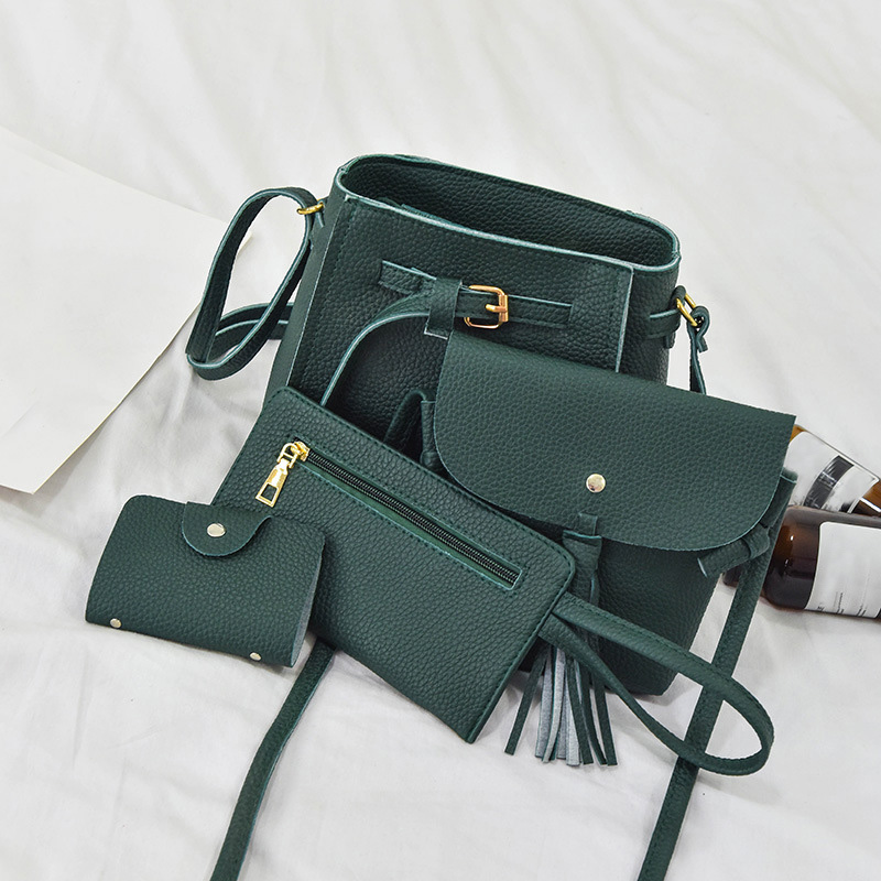 2017 New Fashion 4PCS/set Women Purse and Handbags Sets Ladies PU Leather Shoulder Bags Female package Messenger Bags Tote Bags fashion pu patent leather ladies shoulder bag elegant women messenger bags bolsos tote set bear toy handbags with clutch purse