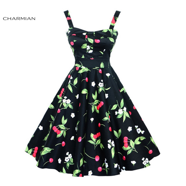 Charmian Summer 1950 s Vintage Audrey Hepburn Style Wide Slip Dress for Women  Retro Cheery Print Casual Beach Dress vestido 4066a229dfac