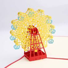 Ferris Wheel Origami 3D Pop Up Paper Laser Cut Vintage Post Cards Greeting Happy Birthday Gifts Kraft