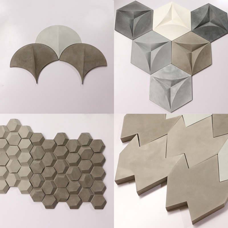 Geometric Design 3D Concrete Wall Brick Silicone Mold Building Decoration Cement Soil Board Industrial Wall Paste Mold