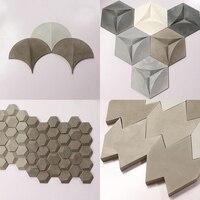 Geometric design 3D concrete wall brick silicone mold building decoration cement soil board industrial wall paste mold