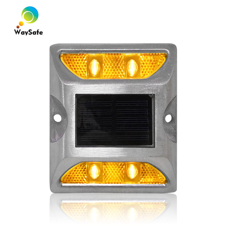 Hot selling aluminum housing waterproof solar road stud with yellow LED light 3M reflector road marker|road stud|solar road stud|road marker - title=