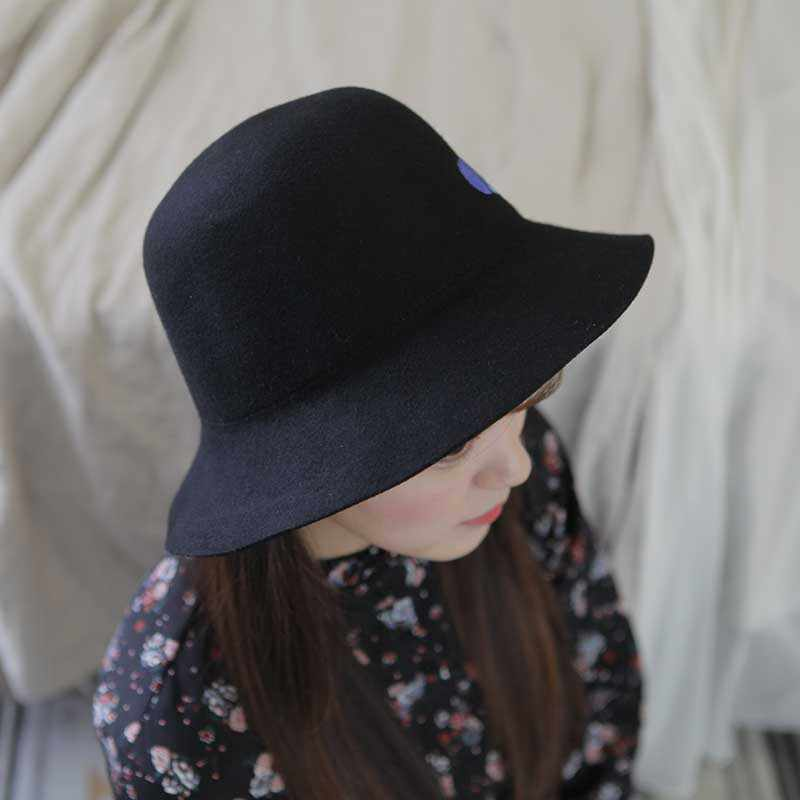 db6e7709a new luxury Wool Wide Brim Floppy Felt Trilby Hand Painted flower Fedora Hat  For Elegant Women Ladies Winter Autumn Church Hat