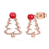 Lovely CHRISTMAS GIFT Xmas Tree Design Stud Earrings LKN18KRGPE1612 Girls Party Enamel Earring For Women 3