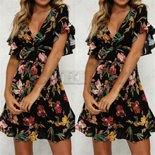 Summer Dress 2019 Women Sexy Deep V-Neck Black Flower Print Dresses Hem FoCUERLYs Bohemian Style Belt Mini Ruffle Beach Dress