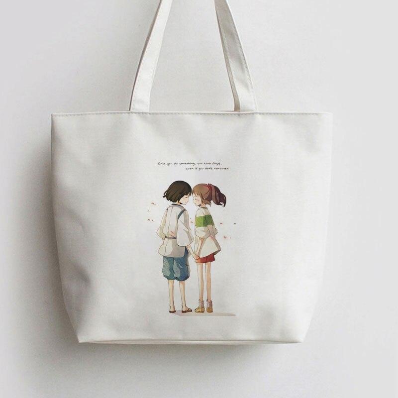Spirited Away ,no Face Man Japanese Anime Handbag Shopping Canvas Bag Cartoon Cute Gift School Bag Shoulder  Tote Bags AN003