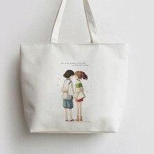 Anime Handbag Tote-Bags Canvas-Bag Spirited Away Gift Shoulder Japanese Cartoon Man Cute