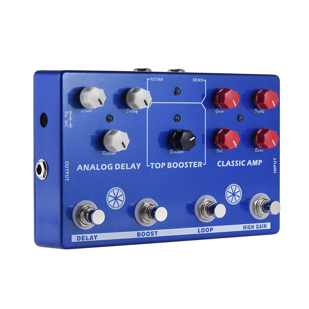 SOACH high quality Multi-effects 4-in-1 Guitar TONE MAKESTATON Effect Pedal Processor AMP, BOOST ,LOOP, Delay FX LOOP EQ