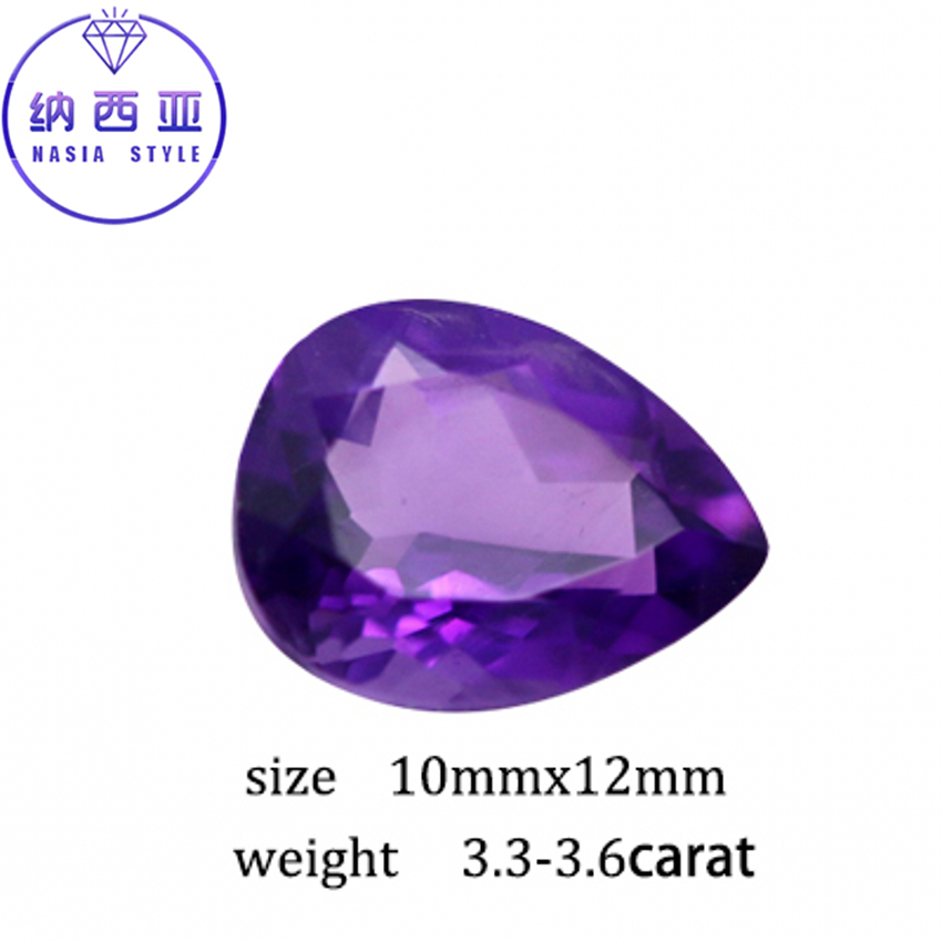 3.3-3.6ct Carat Purple Natural Amethyst Crystal Section Water Drop Pear Beads Loose stone Fit For DIY Fine Jewelry Making