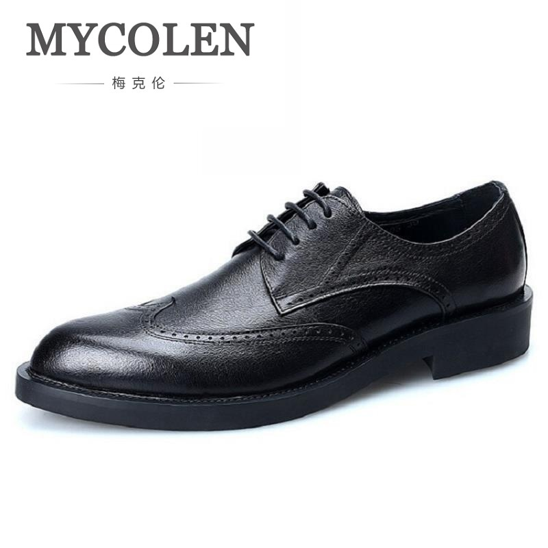 MYCOLEN Brand Formal Dress Men Shoes Genuine Leather Brogue Italian Classic Office Wedding Mens Casual Oxford Sepatu Pria mycolen 2018 new fashion mens oxfords vintage dress shoes luxury brand comfort office man shoes for party sepatu pria