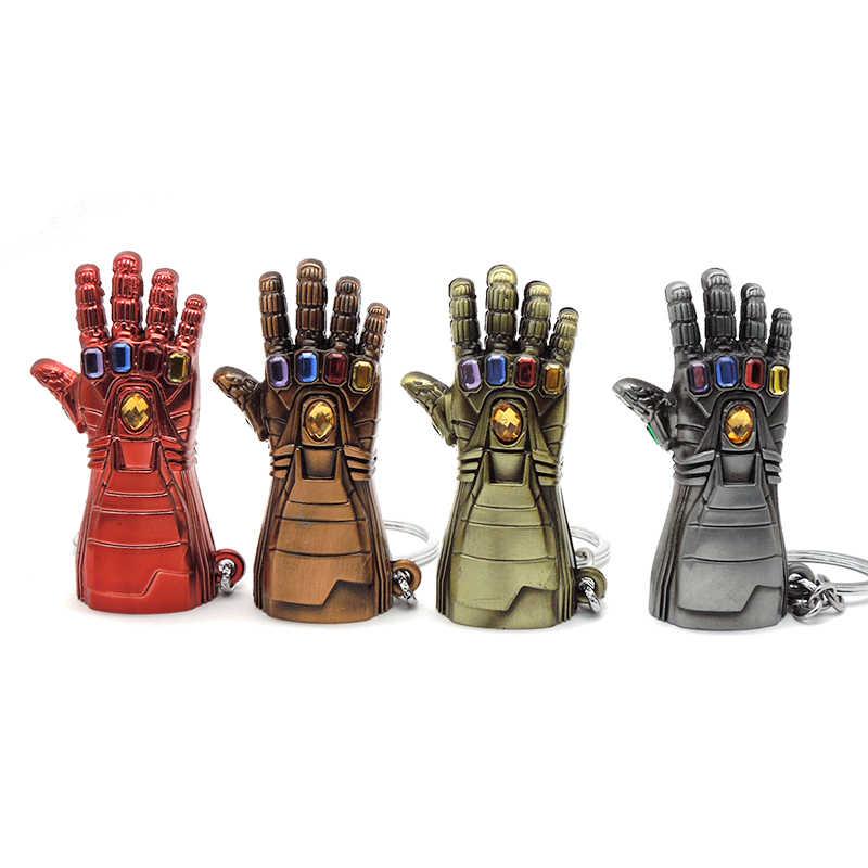 Homem de ferro luva chaveiro marve l avengers endgame thanos infinito potência gauntlet metal chaveiros para os fãs dos homens lembrança jóias