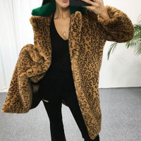 Firstto verde collar empalmado leopardo peludo Shaggy Faux conejo Pieles de animales capa larga retro invierno medio largo Outwear chaqueta caliente