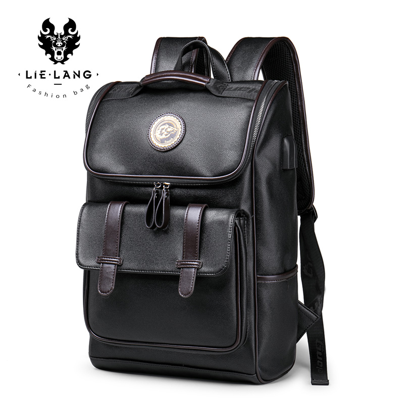 Lielang Backpack Leather Men Laptop Travel Backpack 15inch Waterproof Laptop Backpack Usb College Bookbag Men Mochila Hombre