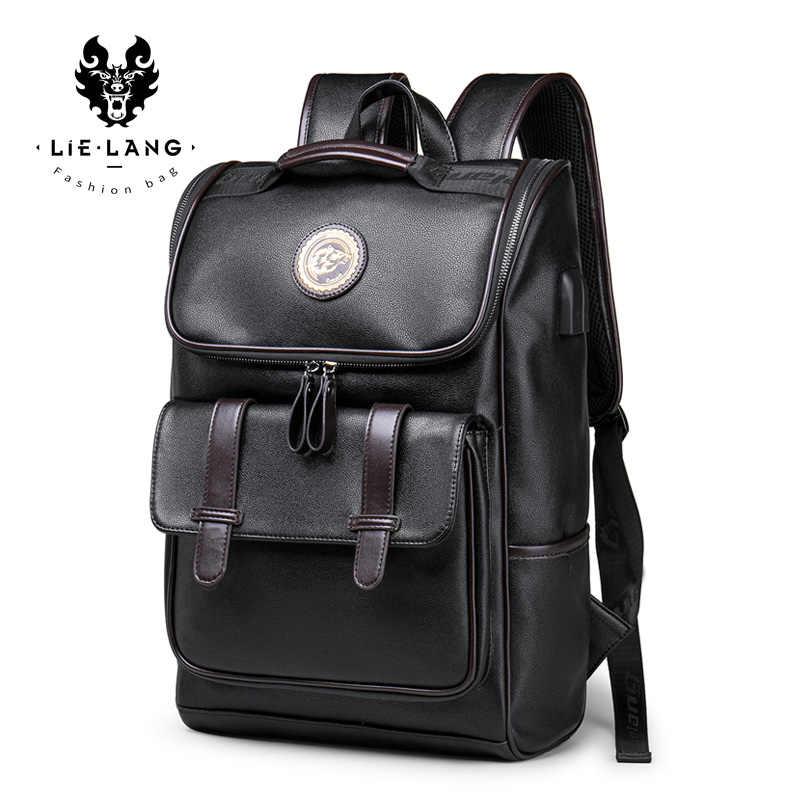 122469982661 LIELANG Backpack Leather Men Laptop Travel Backpack 15inch Waterproof  Laptop Backpack USB College Bookbag Men mochila