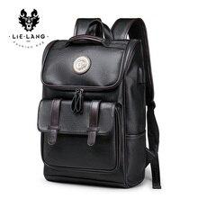 حقيبة ظهر رجالي من LIELANG حقيبة ظهر جلدية للحاسوب المحمول للسفر مقاس 15 بوصة حقيبة ظهر للكمبيوتر المحمول مقاومة للماء مزودة بوصلة USB حقيبة كتب للرجال
