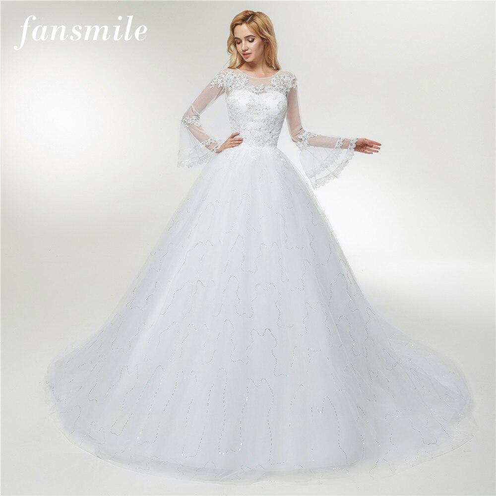 Fansmile Applique Vintage Lace Gowns Wedding Dress Plus Size 2019 Long Train Custom made Bridal Wedding